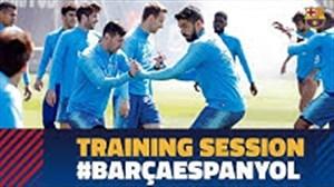 تمرینات بارسلونا قبل از بازی با اسپانیول