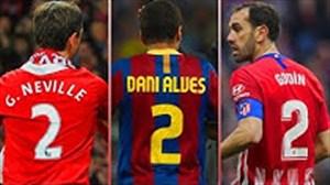 برترین بازیکنان جهان با شماره پیراهن 2