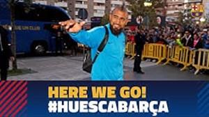 ورود بازیکنان بارسلونا به شهر اوئسکا