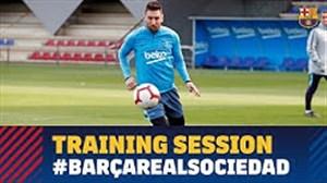 تمرینات بارسلونا برای قبل از دیدار با سوسیداد(31-01-98)