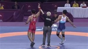 کسب مدال طلای وزن 79 کیلو توسط بهمن تیموری (قهرمانی آسیا)