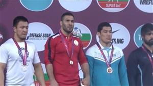 مراسم اهدای مدال طلای رضا یزدانی در وزن 97 کیلو(قهرمانی آسیا)