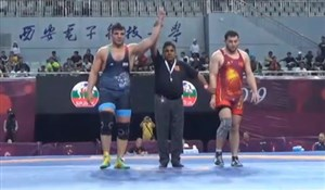 پیروزی مقتدرانه محبی برابر حریف قرقیزستان ؛وزن 125کیلوگرم