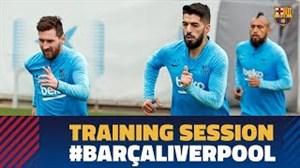 تمرینات بارسلونا پیش از تقابل با لیورپول