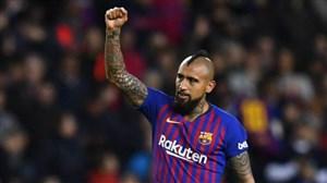 گل اول بارسلونا به ختافه (ویدال)