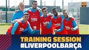 تمرین بارسلونا برای تقابل با لیورپول در آنفیلد