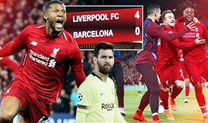 خلاصه بازی لیورپول 4 - بارسلونا 0 (گزارش انگلیسی )
