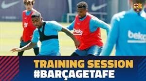تمرین بارسلونا پیش از رویارویی با ختافه