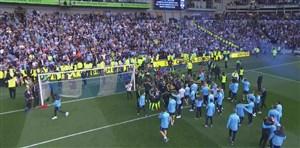 شادی گواردیولا و بازیکنان منچسترسیتی پس از سوت پایان