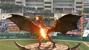اژدها در افتتاحیه سالن بیس بال در کره جنوبی