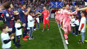 تونل قهرمانی بازیکنان ایبار برای بارسلونا