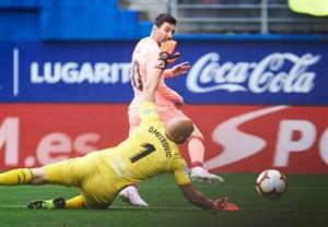 گل اول بارسلونا به ایبار (مسی)