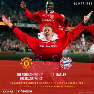 در چنین روزی کامبک منچستریونایتد در فینال لیگ قهرمانان اروپا مقابل بایرن مونیخ