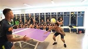 تنیس فوتبال بازیکنان برزیل در حاشیه تمرینات