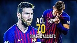 تمام 70 گل و پاس گل لیونل مسی در فصل 19-2018