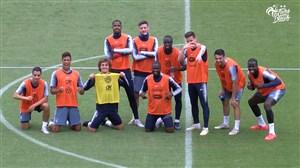 چالش گل کوچیک بازیکنان فرانسه در تمرینات
