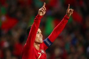 گل سوم پرتغال به سوئیس(هتریک رونالدو)