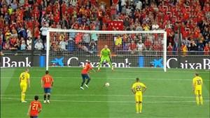 گل اول اسپانیا به سوئد (راموس-پنالتی)