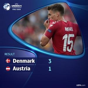 خلاصه بازی دانمارک 3 - اتریش 1 (زیر 21 سال اروپا)