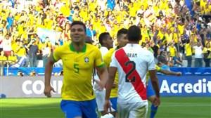 گل اول برزیل به پرو (کاسمیرو)