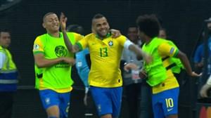 گل چهارم برزیل به پرو (دنی آلوز)
