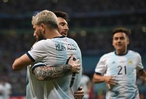 گل دوم آرژانتین به قطر توسط آگوئرو
