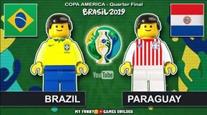 شبیه سازی بازی برزیل - پاراگوئه با عروسک لگو