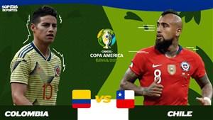 خلاصه بازی کلمبیا 4 - شیلی 5 + پنالتی