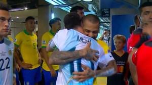 برخورد گرم لیونل مسی با بازیکنان تیم ملی برزیل