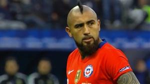 گل اول شیلی به آرژانتین (پنالتی ویدال)