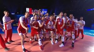 اهدای مدال برنز به تیم والیبال لهستان در لیگ ملت ها