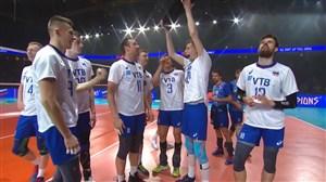 خوشحالی بازیکنان تیم ملی روسیه پس از قهرمانی