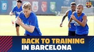 تمرینات بازیکنان بارسا در کمپ خوان گمپر