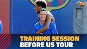 آخرین تمرین بارسلونا پیش از سفر به آمریکا