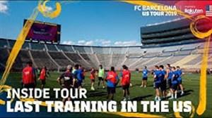 تمرینات بارسلونا در بزرگترین استادیوم کشور آمریکا