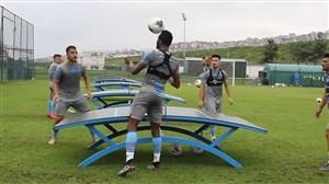 تنیس فوتبال مجید حسینی در تمرین امروز ترابزون