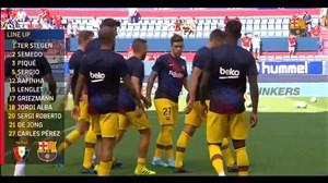 تمرینات بارسلونا و اعلام ترکیب دقایقی قبل از آغاز بازی با اوساسونا