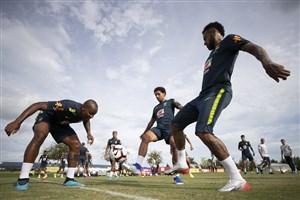 تمرین امروز تیم ملی برزیل با حضور ستاره ها