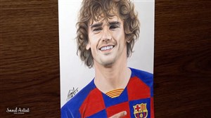 طراحی چهره گریزمان بازیکن بارسلونا