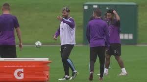 تمرینات تیم منچسترسیتی پس از برد در لیگ قهرمانان اروپا