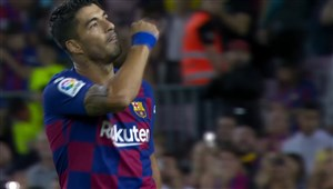 گل اول بارسلونا به سویا (سوارز)