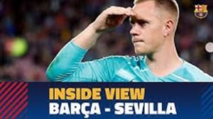 پشت صحنه ای از بازی  بارسلونا - سویا