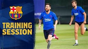 تمرین امروز بارسلونا با حضور سوارز و مسی
