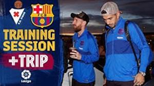 آخرین تمرین بازیکنان بارسلونا پیش از بازی ایبار