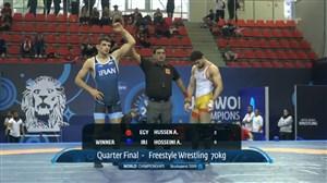 پیروزی حسینی در مرحله 1/4 نهایی(70 کیلوگرم)