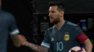 گل اول آرژانتین به برزیل پنالتی (مسی)