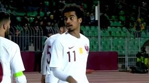 تک گل تیم ملی قطر به افغانستان توسط اکرم عفیف