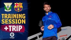 تمرینات بارسلونا قبل از مقابله با لگانس