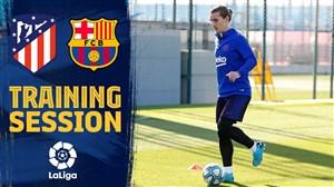 تمرین بارسلونا برای آماده سازی دیدار مقابل اتلتیکومادرید