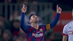 گل دوم بارسلونا برابر مایورکا با شوت دیدنی مسی